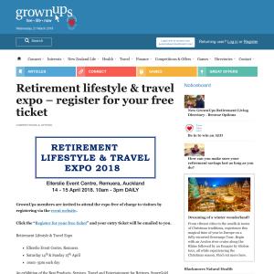 Free ticket to Retirement lifestyle & travel expo
