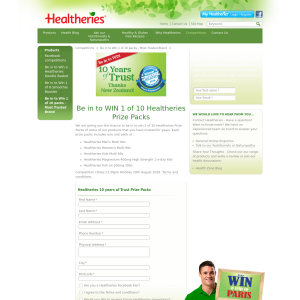 Win 1 of 10 Healtheries Prize Packs