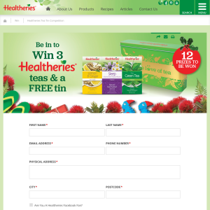 Win 1 of 12 Healtheries Tea Tin Prize Packs