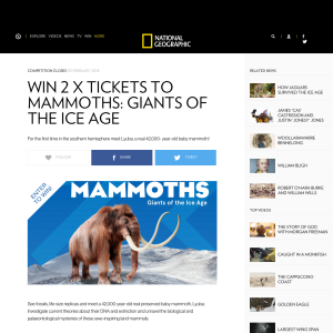 Win 1 of 2 Tickets To Mammoths: Giants Of The Ice Age