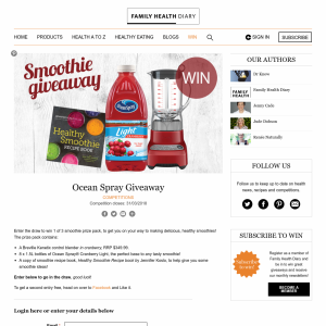 Win 1 of 3 smoothie prize pack