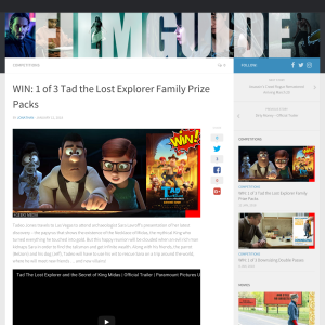 Win 1 of 3 Tad the Lost Explorer Family Prize Packs
