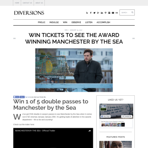 Win 1 of 5 double passes to Manchester by the Sea