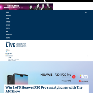 Win 1 of 5 Huawei P20 Pro smartphones with The AM Show