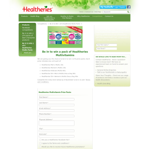 Win 1 of 6 packs of Healtheries Multivitamins