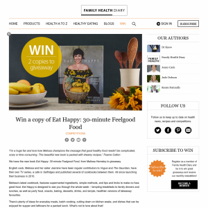 Win a copy of Eat Happy: 30-minute Feelgood Food
