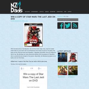Win a copy of Star Wars The Last Jedi on DVD