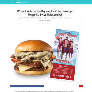 Win a double pass to Baywatch and two Wendy's Portabella Swiss Melt combos