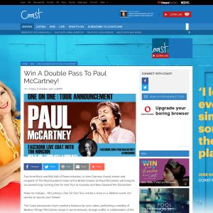 Win A Double Pass To Paul McCartney