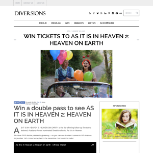 Win a double pass to see AS IT IS IN HEAVEN 2: HEAVEN ON EARTH