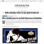 Win a double pass to see Bob Dylan live in Hamilton!