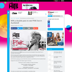 Win a double pass to see P!NK live in Auckland