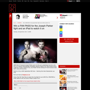 Win a FAN PASS for the Joseph Parker fight and an iPad to watch it on