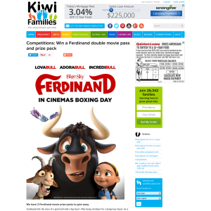 Win a Ferdinand double movie pass and prize pack