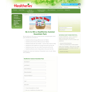 Win a Healtheries Summer Essentials Pack