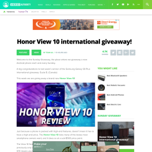 Win a Huawei Honor View 10