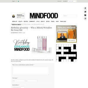 Win a MitoQ Wrinkles Be Gone Kit