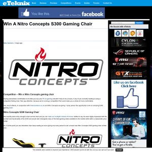 Win a Nitro Concepts S300 Gaming Chair