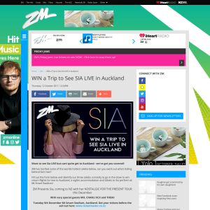 Win a Trip to See SIA LIVE in Auckland