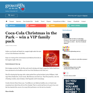 Win a VIP family pack to Coca-Cola Christmas in the Park