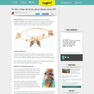 Win a Wings Set of Two Charm Bangles