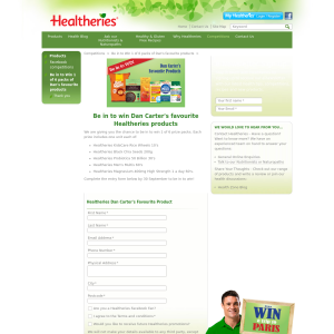 Win Dan Carter's favourite Healtheries products