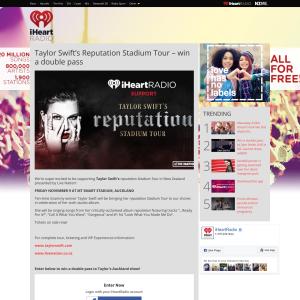 Win double pass to Taylor Swift's Reputation Stadium Tour