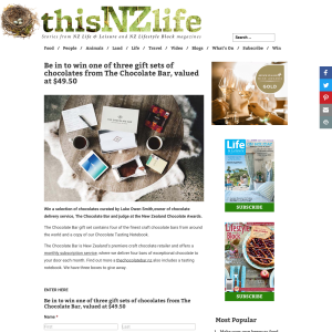 Win one of three gift sets of chocolates from The Chocolate Bar