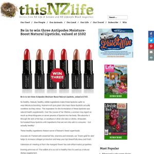 Win three Antipodes Moisture-Boost Natural Lipsticks