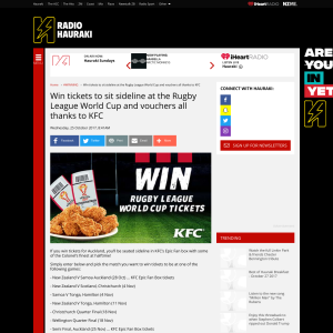 Win tickets to sit sideline at the Rugby League World Cup and vouchers all thanks to KFC