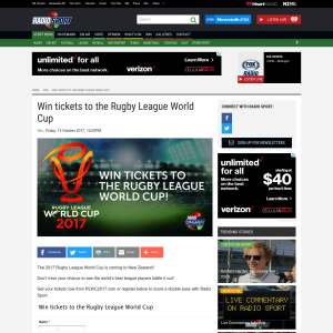 Win tickets to the Rugby League World Cup