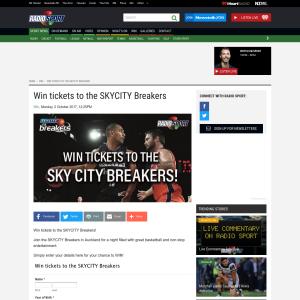 Win tickets to the SKYCITY Breakers
