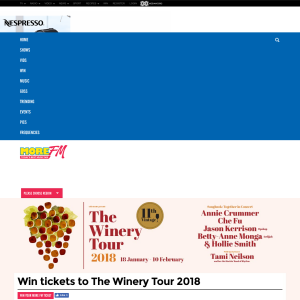 Win tickets to The Winery Tour 2018