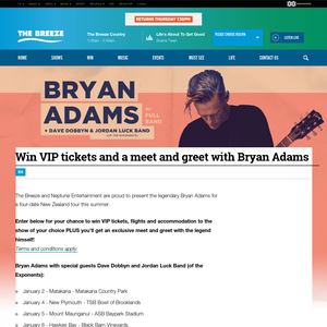 Win VIP tickets and a meet and greet with Bryan Adams