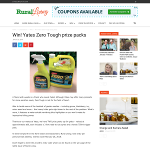 Win Yates Zero Tough prize packs